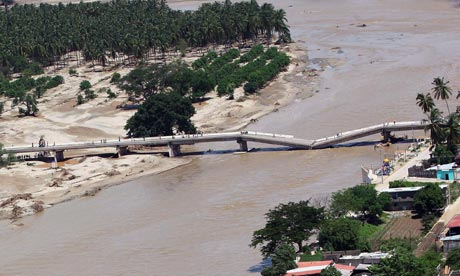 A bridge in the city Coyuca de Benitez, which collapsed after storms across Mexico.