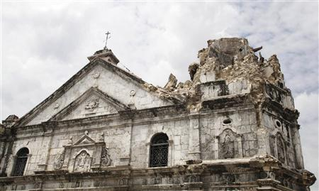 A general view of the damage on Historic Basilica Minor of Sto Nino de Cebu after an earthquake hit the church in Cebu city