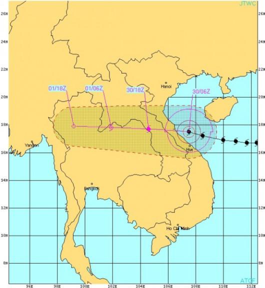 Prognozowany szlak tajfunu Wutip