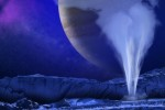 Wizualizacja emitującego parę wodnego słupa na Europie - księżycu Jowisza