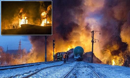 Rosja - Wykoleił się pociąg z cysternami z kondensatem gazu 3