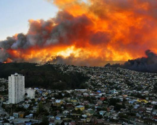 Chile - Pożar w Valparaiso