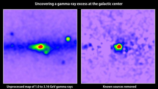Mapa promieniowania gamma w centrum naszej galaktyki - po prawej stronie po eliminacji znanych źródeł została tajemnicza nadwyżka