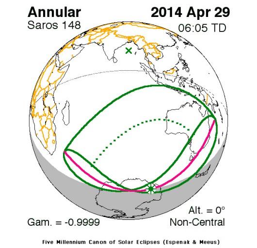 Obrączkowe zaćmienie Słońca 2014.04.29 - Mapa
