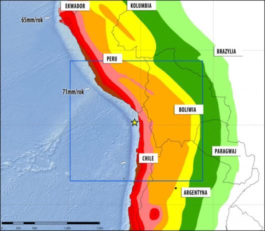 Tempo nasuwania się płyt tektonicznych jest różne na północy i na południu Rowu Atakamskeigo. Czerwony kolor oznacza najwyższe zagrożenie sejsmiczme, jasnozielony - najmniejsze