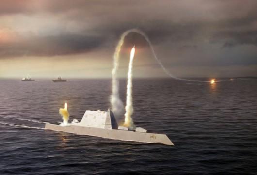 USS Zumwalt atakuje cel. Artystyczna wizja US Navy z pola walki