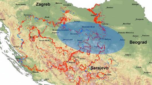 Pola minowe i przybliżone granice obszaru znajdującego się obecnie pod wodą w Bośni i Hercegowinie, Serbii i Chorwacji