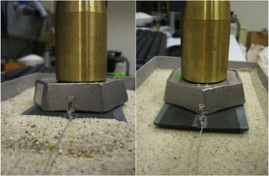 Porównanie ruchu płozy na suchym (po lewej) i mokrym piasku