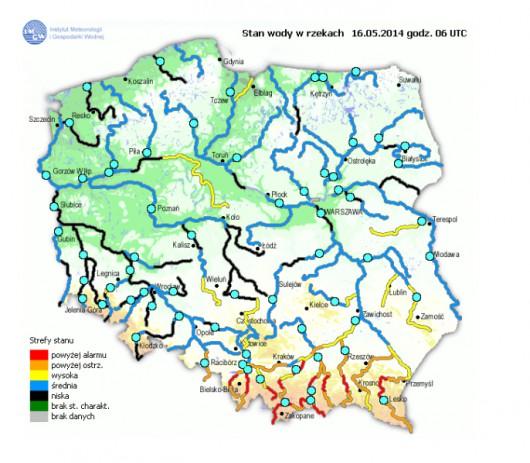 Stan wody w rzekach 16.05 (źródło IMGW)