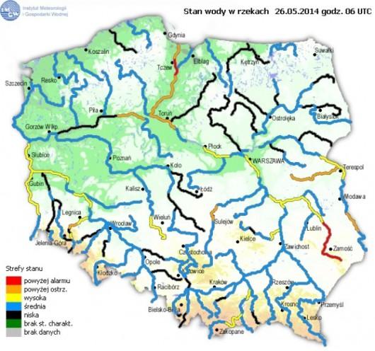 Stan wody w rzekach w dn. 26 maja o godzinie 6.00 (IMGW)