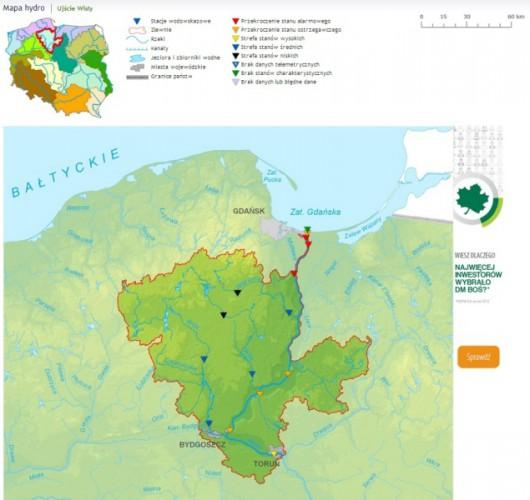 Sytuacja hydrologiczna u ujścia Wisły godz. 12.30 (IMGW)