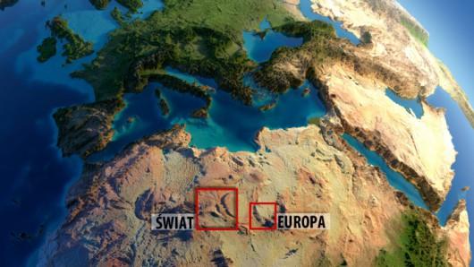 Na czerwono zaznaczony zopstał obszar, który zasiliłby Europę i świat w energię elektryczną