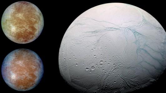 Po lewej: Europa, księżyc Jowisza w obiektywie sondy Galileo. Po prawej: Enceladus, księżyc Saturna w obiektywie sondy Cassini