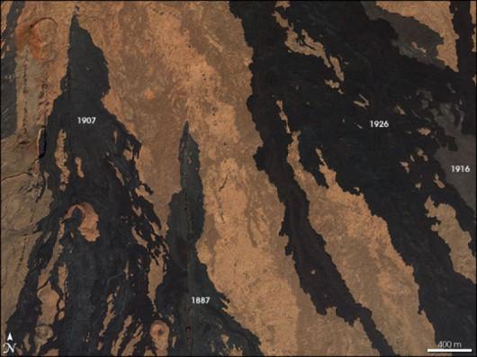 Strugi lawy na zboczu wulkanu Manua Loa