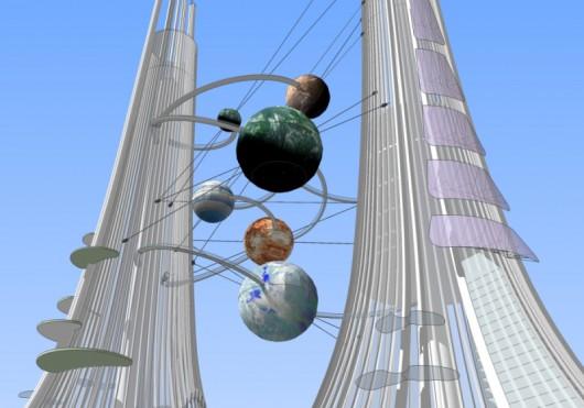 Pomiędzy wieżami zawisną kule symbolizujące planety