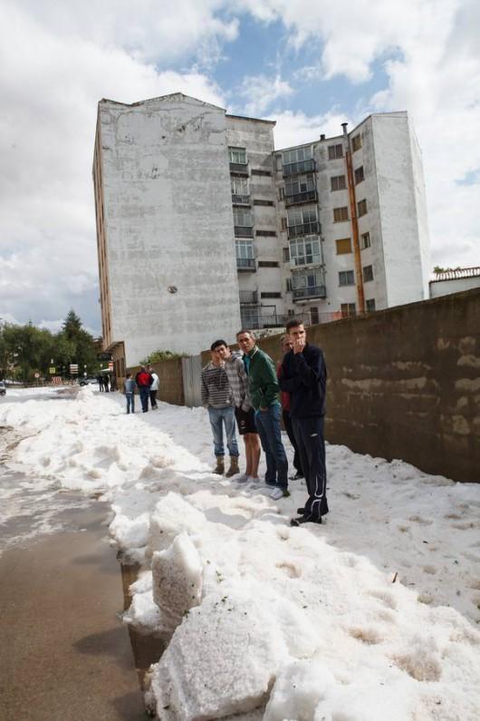 Soria 02/07/2014.-Fuerte granizada en Almazán (Soria)