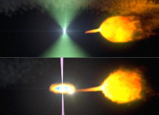 Pulsar w układzie podwójnym przechodzi przemianę, czerpiąć materię z gwiazdy towarzyszącej