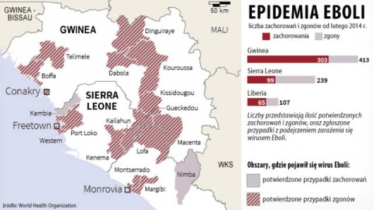 Skala epidemii Eboli na terenie Afryki Zachodniej