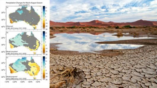 W Australii odnotowane spadek opadów deszczu