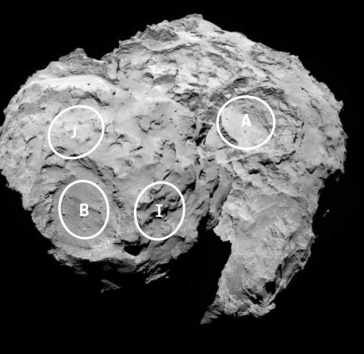 Cztery z proponowanych pięciu miejsc ladowania /ESA/Rosetta/MPS for OSIRIS Team /