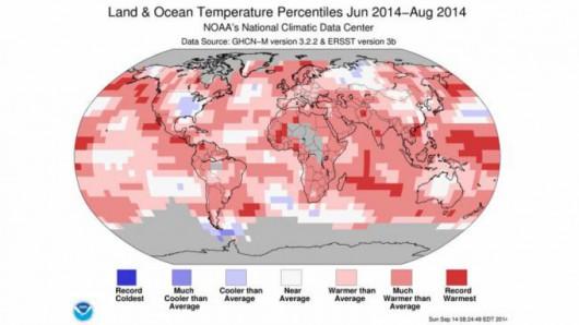 Gdzie było cieplej, a gdzie chłodniej podczas tegorocznego lata? (NOAA)