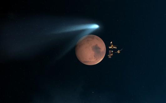 Artystyczna wizja przelotu komety /NASA/ JPL-Caltech /