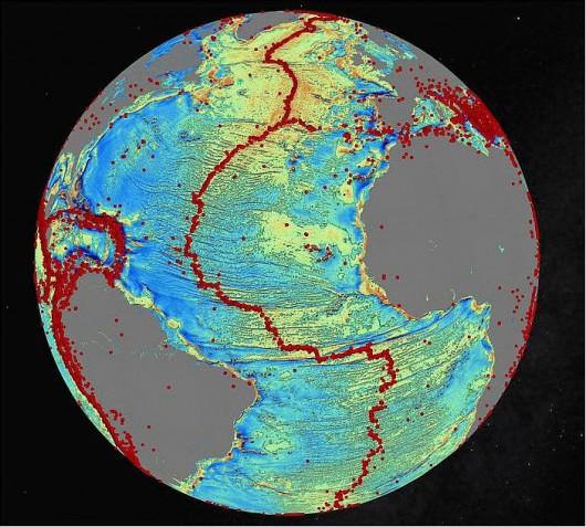 Czerwone plamy wskazują aktywność wulkaniczną