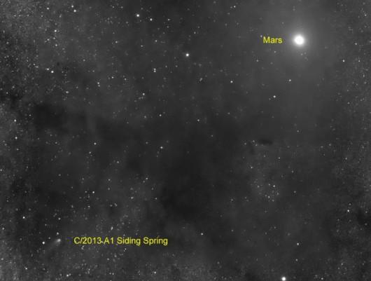 Kometa Siding Spring (C/2013 A1) w pobliżu Marsa /Slooh Community Observatory /