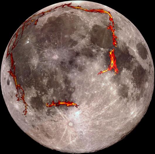 Na czerwono oznaczono obszary wypływu lawy /Kopernik Observatory/NASA/Colorado School of Mines/MIT/JPL/Goddard Space Flight Center /