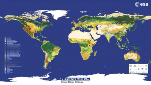 Najnowsza mapa pokrycia terenu dla wszystkich powierzchni lądowych na Ziemi