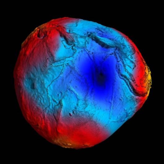 Natężenie pola grawitacyjnego na Ziemi w 2011 roku wg satelity GOCE