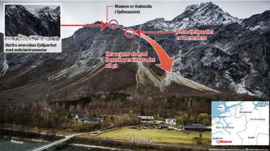 Norwegia - Pojawiły się olbrzymie szczeliny w górze Mannen w Rauma, ewakuowano okolicznych mieszkańców