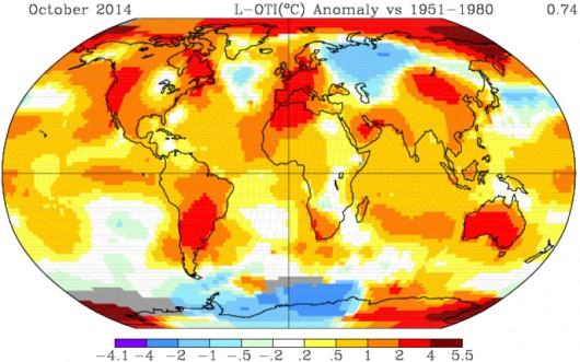 Anomalie temperatury powietrza w paździeniku w 2014 roku na świecie