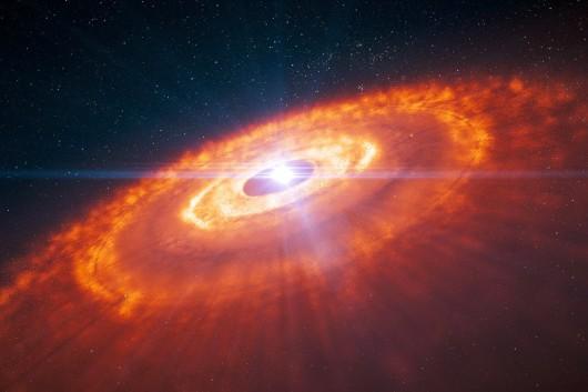 ESO - Zrobiono niezwykłe zdjęcie dysku wokół młodej gwiazdy, w którym tworzą się planety