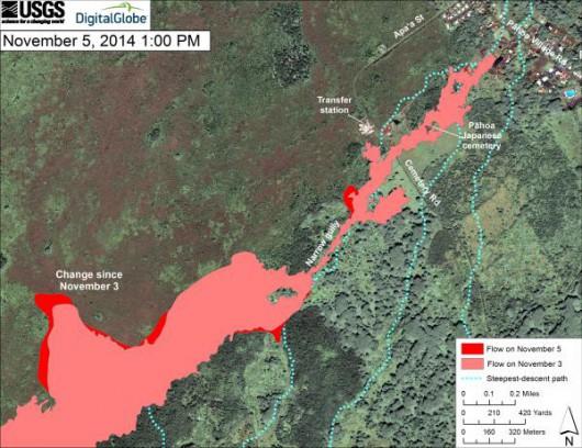 Hawaje, USA - Lawa z wulkanu już zaledwie 100 metrów od zabudowań 3