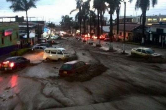 Kolumbia - Potężna burza i całe miasto Fusagasuga pod wodą 1