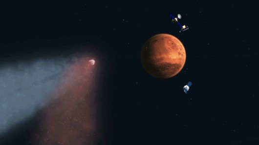 Kometa, Mars i schowane za Marsem satelity na rysunku NASA