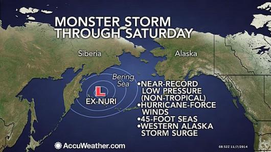 Nacierający przez Morze Beringa w stronę Alaski potężny sztorm 2