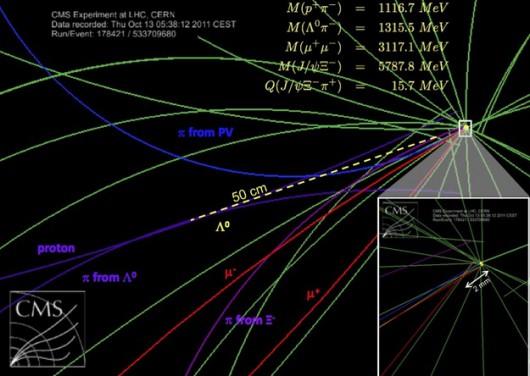 Schemat rozpadu potwierdzającego istnienie nowej cząstki /CMS/CERN /