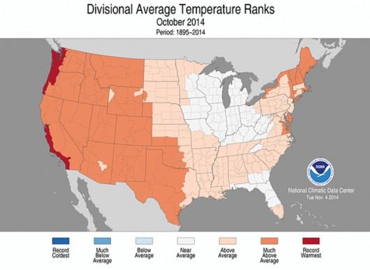 Temperatura powietrza w październiku w Stanach Zjednoczonych była wyższa od średniej wieloletniej