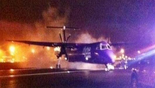Irlandia - Awaryjne lądowanie samolotu linii Flybe w Belfaście, zapalił się silnik