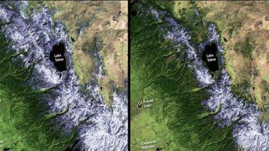 Kalifornijska susza uszczupla pokrywę śnieżną w górach Sierra Nevada. Na zdjęciu od lewej: stan w dn. 23 luty 2011, po prawej: stan w dn. 23 luty 2014