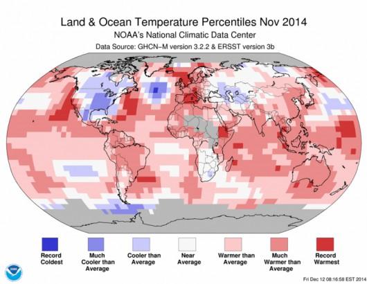 Odchylenie od średniej temperatury powietrza w listopadzie 2014