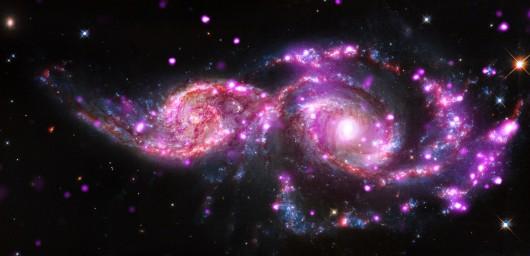 Zderzenie dwóch potężnych galaktyk spiralnych