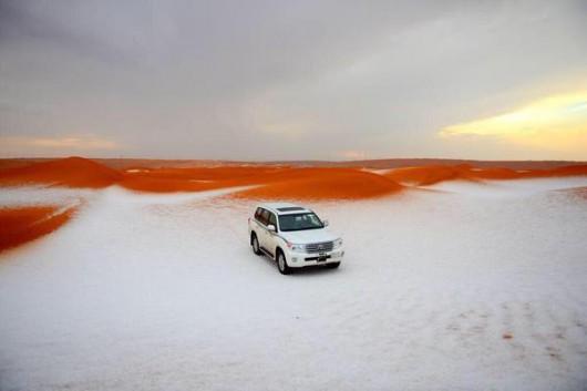 Arabia Saudyjska - Na pustyni mocno sypnęło śniegiem 2