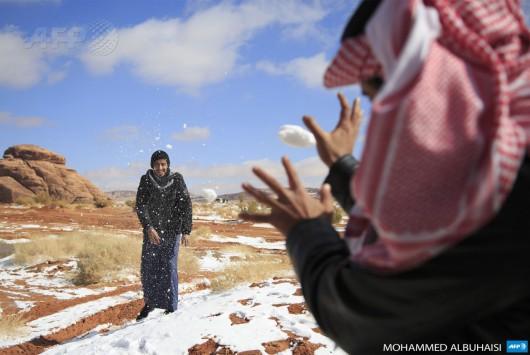 Arabia Saudyjska - Na pustyni mocno sypnęło śniegiem 6