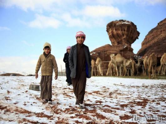 Arabia Saudyjska - Na pustyni mocno sypnęło śniegiem 7