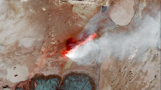 Lawa z wulkanu Bardarbunga widziana z kosmosu, 6 września 2014 r.