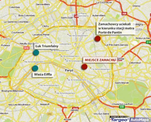 Mapa Paryża pokazująca miejsce zamachu