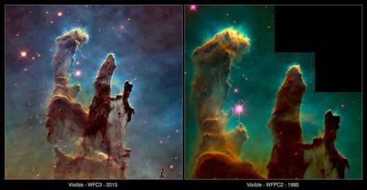 Porównanie najnowszego obrazu z tym sprzed blisko 20 lat /WFC3: NASA, ESA/Hubble i Hubble Heritage Team WFPC2: NASA, ESA/Hubble, STScI, J. Hester and P. Scowen (ASU) /